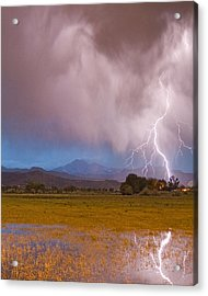 Lightning Striking Longs Peak Foothills 7c Acrylic Print by James BO  Insogna