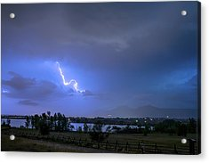 Acrylic Print featuring the photograph Lightning Striking Over Boulder Reservoir by James BO Insogna