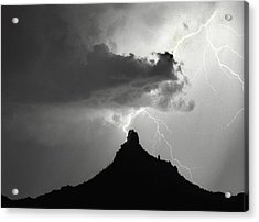 Lightning Striking Pinnacle Peak Arizona Acrylic Print by James BO  Insogna