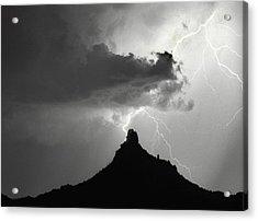 Lightning Striking Pinnacle Peak Arizona Acrylic Print by James BO  Insogna