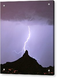 Lightning Striking Pinnacle Peak Scottsdale Az Acrylic Print