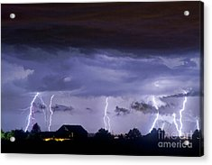 Lightning Thunderstorm July 12 2011 Strikes Over The City Acrylic Print