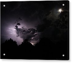 Lightning With Stars And Moon  Acrylic Print by Todd Krasovetz