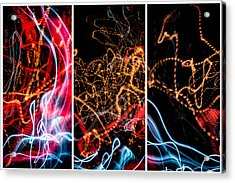 Lightpainting Triptych Wall Art Print Photograph 5 Acrylic Print by John Williams
