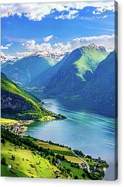 Acrylic Print featuring the photograph Lights And Shadows Of Sognefjord by Dmytro Korol
