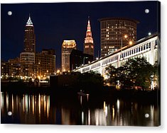 Lights In Cleveland Ohio Acrylic Print by Dale Kincaid