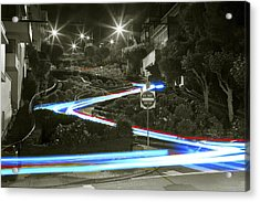 Lights On Lombard Black And White Acrylic Print