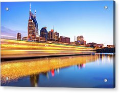 Acrylic Print featuring the photograph Lights On The Cumberland River - Nashville Tennessee Skyline  by Gregory Ballos