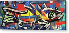 Lil Funky Folk Fish Number Nine Acrylic Print by Robert Wolverton Jr