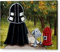 Lil Vader Walking His At At Acrylic Print