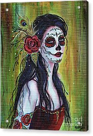 Lila Day Of The Dead Art Acrylic Print by Renee Lavoie