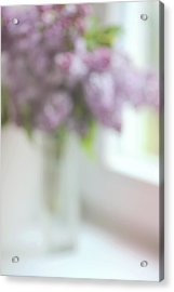 Lilac At The Window. Impressionism Acrylic Print by Jenny Rainbow