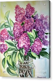 Acrylic Print featuring the painting Lilac On The Kitchen Table by Inese Poga
