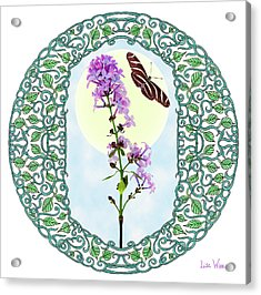 Acrylic Print featuring the digital art Lilac With Butterfly by Lise Winne