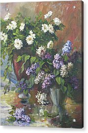 Lilacs And Asters Acrylic Print