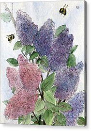 Lilacs And Bees Acrylic Print