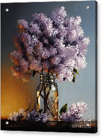 Lilacs In A Ball Jar Acrylic Print by Larry Preston