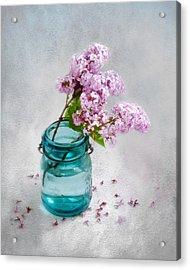 Lilacs In A Glass Jar Still Life Acrylic Print by Louise Kumpf