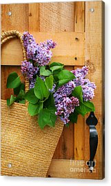 Lilacs In A Straw Purse Acrylic Print by Sandra Cunningham