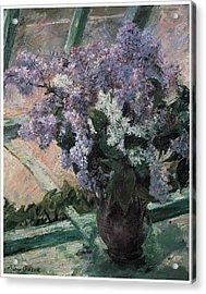 Lilacs In A Window Acrylic Print by Mary Cassatt