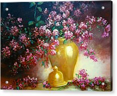 Lilacs In Gold Vase Acrylic Print by Jeanene Stein