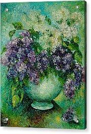 Lilacs No 4. Acrylic Print by Evgenia Davidov