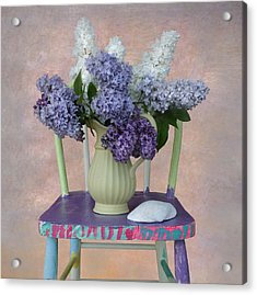 Lilacs With Chair And Shell Acrylic Print by Jeff Burgess