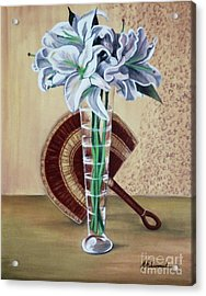 Lilies And Fan Acrylic Print by Marcella Muhammad