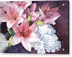 Lilies And Hydrangeas - II Acrylic Print
