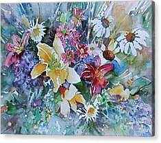 Lilies Daisies Flowers Bouquet Acrylic Print by Reveille Kennedy