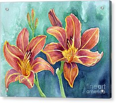 Acrylic Print featuring the painting Lilies by Eleonora Perlic