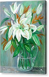 Lilies In A Glass Vase - Painting Acrylic Print