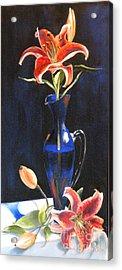 Lilies In Cobalt Acrylic Print by Susan A Becker