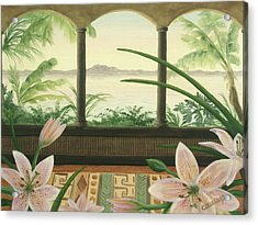 Acrylic Print featuring the painting Lilies In Paradise by Cathy Cleveland