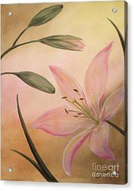 Acrylic Print featuring the painting Lilies Part 2 by Cathy Cleveland