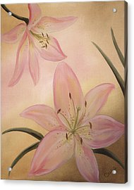 Acrylic Print featuring the painting Lilies Part1 by Cathy Cleveland