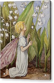 Lily Of The Valley Fairy After Cicely Mary Barker Acrylic Print by Betty-Anne McDonald