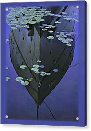 Lily Pads And Reflection Acrylic Print by John Hansen