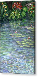 Lily Pads Triptych Part Three Acrylic Print by Linda Mears
