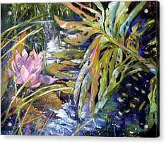 Lily Pond Light Dance Acrylic Print by Rae Andrews