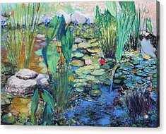 Acrylic Print featuring the painting Lily Pond by M Diane Bonaparte
