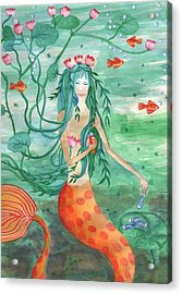Lily Pond Mermaid With Goldfish Snack Acrylic Print by Sushila Burgess