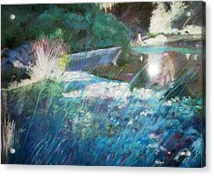 Lily Pond Statue And Gardens Acrylic Print by Anita Stoll
