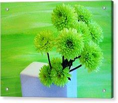 Lime Flowers Acrylic Print by Marsha Heiken