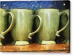 Lime Green Cups Acrylic Print by Paulette B Wright