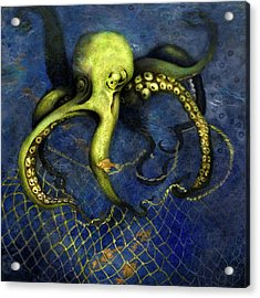 Lime Green Octopus With Net Acrylic Print