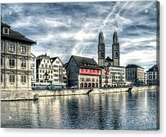 Acrylic Print featuring the photograph Limmat Riverfront by Jim Hill