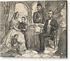 Lincoln And His Family Acrylic Print by American School
