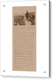 Lincoln And The Gettysburg Address Acrylic Print by War Is Hell Store