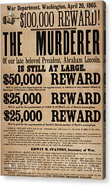 Lincoln Assassination Reward Poster Acrylic Print by American School